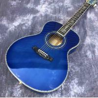 Buy cheap Solid spruce top OM style Acoustic Guitar,Abalone Ebony fingerboard Blue Burst Maple back and sides Acoustic Guitar from wholesalers