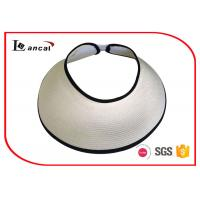 Buy cheap Womens Paper White Straw Wide Brim Sun Visor Hat Black Bound Edge from wholesalers