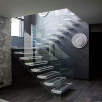 Buy cheap hot selling from Housing floating glass stairs/wood tread staircase from wholesalers