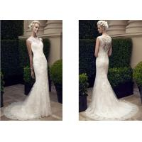 Buy cheap Long Style Custom Made Fit And Flare Wedding Gown , White Lace Prom Dress from wholesalers