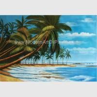Buy cheap Hand Painted Hawaiian Artwork Paintings , Coconut Trees Landscape Oil Painting On Canvas from wholesalers