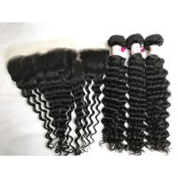 Buy cheap 100% Brazilian Virgin Hair Remy Hair Deep Wave 3 Bundles With 13x4 Lace Frontal from wholesalers
