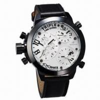 Buy cheap Men's XXL Big Size Mutiple Time Zone Sports Military Watch in U-boat Style and Black Color from wholesalers