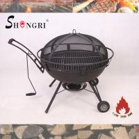 China outdoor firepit BBQ grill on wheels on sale