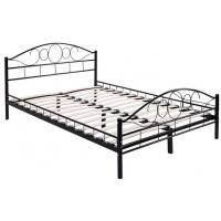 Buy cheap Durable black Metal Frame Bed / Steel Frame Bed With Wood Slat Contemporary Bedroom Furniture from wholesalers
