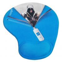 Buy cheap Blue Non-Heated Skidproof Lycra Cloth + Soft Gel + PU gift Gel Mouse Pads with wrist support from wholesalers