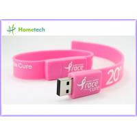 Buy cheap Pink Silicon Wristband USB Flash Drive Silicon bracelets USB Flash Memory , Multi Color USB 2.0 Bracelet Memory Stick from wholesalers