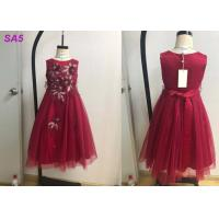 China Beautiful Lace Childrens Flower Girl Dresses For Birthday Party Full Length O Neck on sale