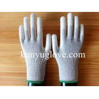 Buy cheap 13 Guage carbon yarn knitting glove with white pu coating gloves from wholesalers