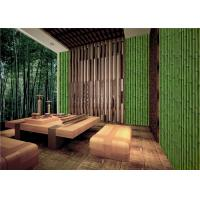 Buy cheap Bamboo Embossed Peelable Durable Velvet Flock Wallpaper Green / Yellow from wholesalers