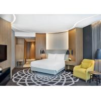 Buy cheap Luxury 4 Star Hotel Bedroom Furniture King / Queen Size Bed With Veneer PU Leather Wall Panel from wholesalers