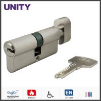 Buy cheap Flat Key Security Mortice Lock Cylinder EN1303 Key and Turn Satin Chrome Fire Test product