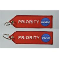 Buy cheap PRIORITY One World Keychain With Fabric Embroidery Car Key Ring Tag Chain from wholesalers