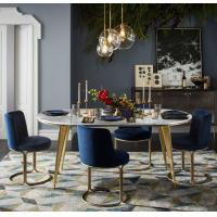 Buy cheap Unique Round Stainless Steel Base Velvet Dining Chair Golden chair for living room from wholesalers