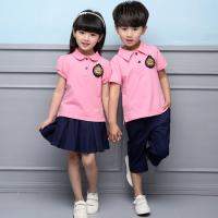 Buy cheap Summer Cotton Fabric Kindergarten Primary School Uniform / Kid Pink Polo Shirts from wholesalers