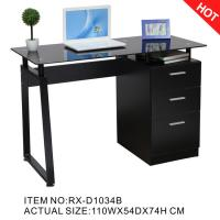 Buy cheap 2018 Hotsale Black Glass Computer Desk with File Cabinet RX-D1034B from wholesalers