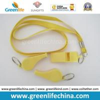 Buy cheap Popular Promotional Sport Gift Yellow Plastic Whistle w/Neck Lanyard Together from wholesalers