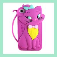 Buy cheap cute cat iphone case for 4,4S ,silicone animal phone cover for iphone 5,5S from wholesalers