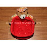 Buy cheap Red Crochet Fruit Basket Flat Bottom Crochet Hanging Basket With Bears from wholesalers