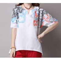 Buy cheap 2018  fashion short sleeve woman cotton and linen printed t-shirts from wholesalers