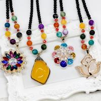 Buy cheap Luxury design elegant mutil colored bead brass sweater necklace for banquel and party from wholesalers
