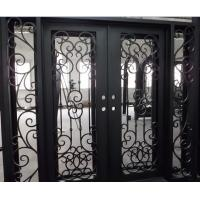 Buy cheap Flat Top Wrought Iron Double Door With Side lights from wholesalers