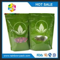 Buy cheap Green Tea Bags Packaging Printed Mylar Stand Up Ziplock Bag With Clear Window from wholesalers