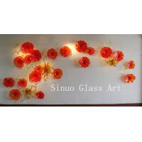 Buy cheap Modern Interior Design Decorative Glass Wall Art with Murano Glass Flowers from wholesalers