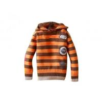 Buy cheap Orange And Brown Stripes Hooded lovely Anti - Piling fabric dyeing hand knitted baby wear from wholesalers