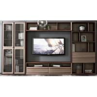 Buy cheap 2017 New Walnut Wood Furniture Design Living room Combined TV Wall Units by Tall Cabinets and Floor stand & Hang Racks product