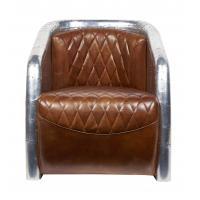 Top Grain Ox High Back Winged Leather Armchairs ,Leather Accent Chairs With Arms Aluminium Back