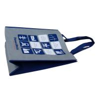 Buy cheap Grey Non Woven Fabric Carrier Bags With Blue Handle Reusable from wholesalers