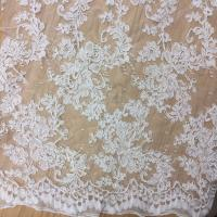 Buy cheap 2017 hot sale Bridal Wedding Dress Fabric  Mesh Based Embroiery Lace Fabric in Ivory Color from wholesalers