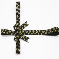 Buy cheap Golden Printing Decorative Ribbon Bow Black Color With Adhesive Tape from wholesalers