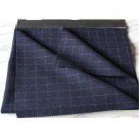 Window Pane SuitMedium Tartan Wool Fabric British Style Navy With White Line