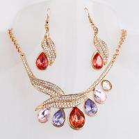 Buy cheap Colorful zircon new drop water design gold silver plated necklace earrings jewelry sets for party and banquet from wholesalers