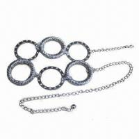 Buy cheap Women's Fashionable Chain Belt, Made of Alloy with Rhinestones, Available in Various Designs from wholesalers