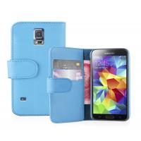 Buy cheap Blue Stand PU Leather Cell Phone Wallet Cases For Samsung Galaxy S5 i9600 from wholesalers