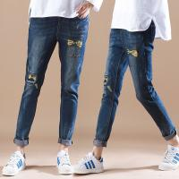 Buy cheap Summer Womens Printed Denim Jeans Full Elastic Waist Cute Embroidered Pattern from wholesalers