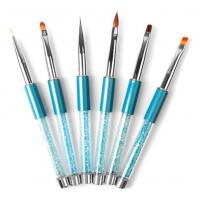 Buy cheap Light Blue Metal Nail Manicure Brush Rhinestone Handle Painting Brush Dotting Tool Set product