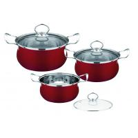 Buy cheap Red Kitchen Pots And Pans Set Easy Cleaning , Durable Stainless Steel Cookware Sets from wholesalers