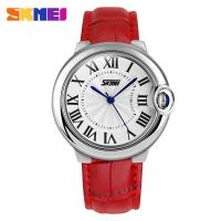 Buy cheap Red Leather Strap Analog Quartz Watch Japanese Movement for Lady from wholesalers
