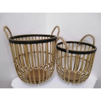 Buy cheap Brown Round Vintage Bamboo Basket Set from wholesalers