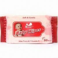 Buy cheap Soft Baby Wipe, Measures 15 x 20cm, Alcohol-free product