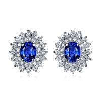 Buy cheap Sparkly Diamonds 18k Gold Gemstone Earrings Sapphire Wedding Earrings from wholesalers