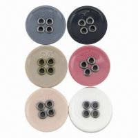 Buy cheap 24L 4-hole Sewing Resin Buttons with Metal Eyelets and Engraved Logo, Various Colors are Available product