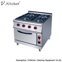 China LGR-94EV Commercial Restaurant Kitchen Equipment 4 Open Burner Gas Stove Range with Electric Oven on sale