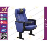 Buy cheap Black PU Polyurethane Armrest Church Auditorium Chairs With ABS Folding Table product