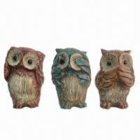 China Polyresin Crafts in Owl Figurines, Available in Red/Green/Yellow Color Finishing on sale