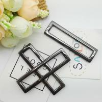Buy cheap Black / Silver Handbag Metal Hardware Zinc Alloy Strap Engraved Metal Square Ring Buckle from wholesalers